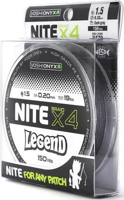 Леска Yoshi Onyx NITE Legend х4 Темно-Серый  PE 104442 леска yoshi onyx drake super line цвет розовый 100 м 0 148 мм 1 72 кг