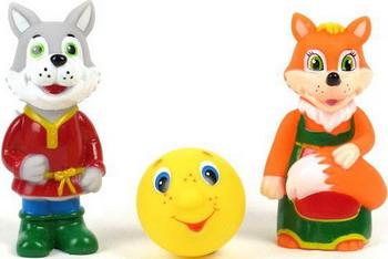 Набор игрушек для купания Играем Вместе Лиса  волк  колобок играем вместе набор для купания русалочка играем вместе