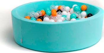 """Бассейн сухой Hotnok ''Ночное сияние"""" 250 шариков (мятный белый черный оранжевый прозрачный) sbh 023 koudou прозрачный оранжевый"""