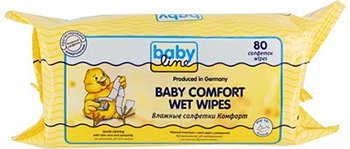 Салфетки детские Babyline влажные Комфорт 80 шт. refectocil салфетки под ресницы extra непромокаемые покрытые пленкой 80 шт