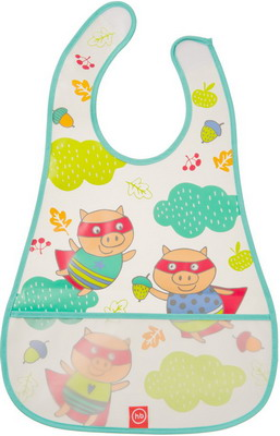 Нагрудник Happy Baby WATERPROOF BABY BIB 16005 MINT (PIGS) расчески для волос детские happy baby brush comb set 17000 mint
