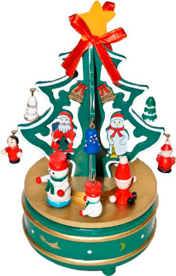 Заводная музыкальная карусель Новогодняя сказка 20 5 см с игрушками (97965) цена