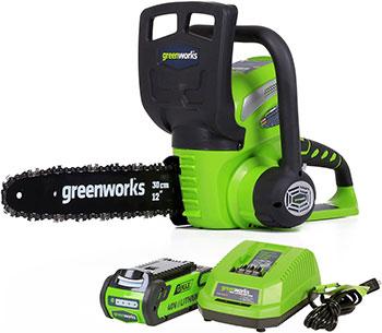 Цепная пила Greenworks 40 V G-max G 40 CS 30 с аккумулятором 2Ah и зарядныйм устройством 20117 UA аккумуляторный триммер greenworks 40v g max g40lt с аккумулятором 2ah и зарядныйм устройством