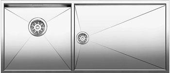 Кухонная мойка BLANCO ZEROX 400/550-Т-U (чаша слева) нерж. сталь зеркальная полировка без клапана авт 521605 blanco zerox 450 u нерж сталь зеркальная