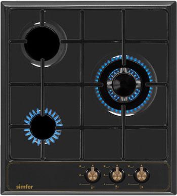 Встраиваемая газовая варочная панель Simfer H 45 V 35 L 517 чёрный zogaa чёрный цвет номер l