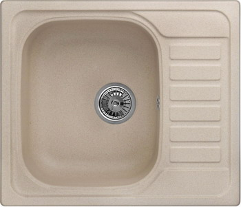 Кухонная мойка Weissgauff QUADRO 575 Eco Granit бежевый  weissgauff quadro 575 eco granit серый беж