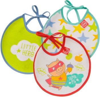 Набор нагрудников Happy Baby TERRY BIBS 16007 PIG (поросенок) egmaobaby 16 pcs set unisex baby bandana drool bibs 100