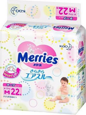 Подгузники Merries Air Through 6-11кг М 22 шт подгузники merries m 6 11 кг 76 шт