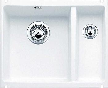 Кухонная мойка BLANCO 523741 SUBLINE 350/150-U керамика глянцевый белый PuraPlus с отв.арм. InFino кухонная мойка blanco 523738 subline 500 u керамика серый алюминий puraplus с отв арм infino