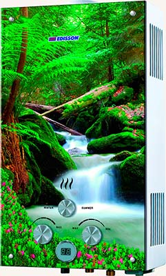 Газовый водонагреватель Edisson F 20 GD (Лес) газовая колонка edisson f 20 gd костер