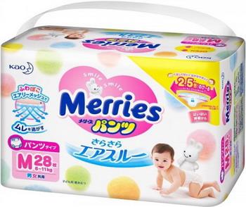 Трусики-подгузники Merries 6-11 кг М 28 шт merries детские подгузники 6 11kg m 64 шт импорт из японии