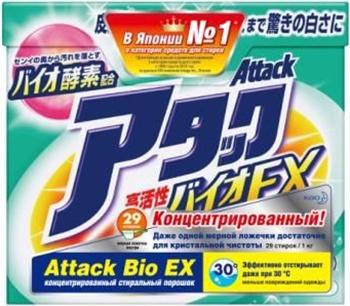 Концентрированный универсальный стиральный порошок Attack BioEX 1 5 кг стиральный порошок attack bioex концентрированный универсальный 1 кг