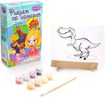 Набор для рисования Bondibon Рисуем по номерам Динозавр ВВ1076 наборы для рисования цветной раскраски по номерам разноцветный амур