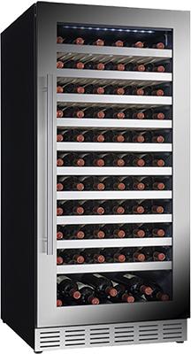 Встраиваемый винный шкаф Cavanova V 120 T черный серебристая дверца