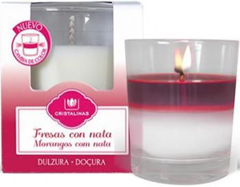 Арома-свеча CRISTALINAS двухцветная с ароматом клубники со сливками 20 часов