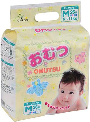 Подгузники OMUTSU M (6-11 кг) 26 шт.