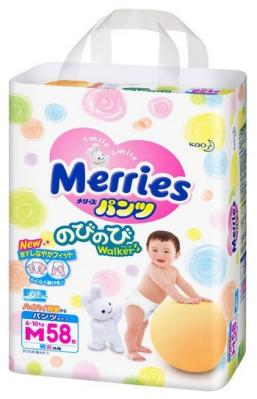 Трусики-подгузники Merries Трусики - подгузники 6-10 кг М 58шт merries детские подгузники 6 11kg m 64 шт импорт из японии