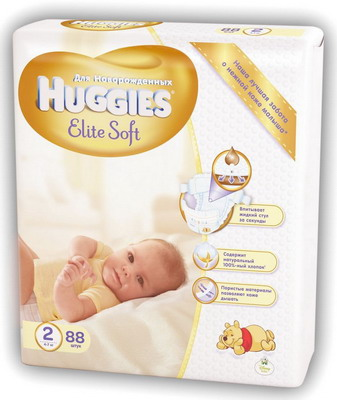 Подгузники Huggies Elite Soft 2 4-7кг 88шт
