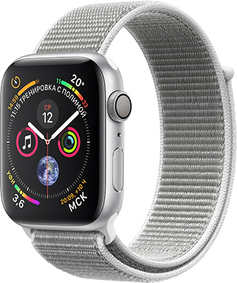 Часы Apple Watch Series 4 GPS 40 mm Silver Aluminium Case with Seashell Sport Loop (MU 652 RU/A) умные часы apple watch series 3 38mm gold with pink sand sport band mqkw2ru a