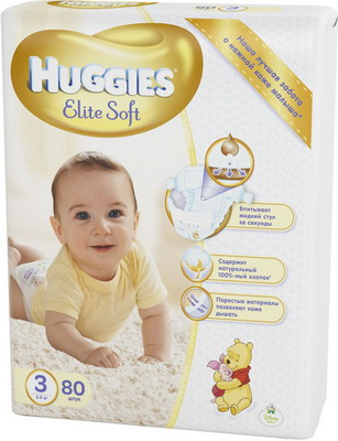 Подгузники Huggies Elite Soft 3 5-9кг 80шт sport elite se 2450