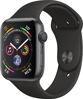 Часы Apple Watch Series 4 GPS 40 mm Space Grey Aluminium Case with Black Sport Band (MU 662 RU/A) 1 4 oled gsm gps personal position tracker wrist watch black