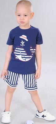 Футболка и шорты Fleur de Vie Арт. 24-0060 рост 92 синий блуза fleur de vie 24 2192 рост 134 фиолетовая