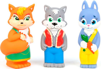 Набор игрушек для купания Затейники GT 7143 Набор Лисичка Волк и Зайка 3 шт в пакете