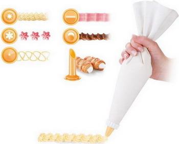 Мешочек для украшения блюд Tescoma DELICIA 35 cм полотняный 6 насадок 630487 противень для выпечки tescoma delicia 46 x 30см 623014