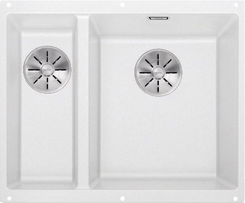 Кухонная мойка BLANCO SUBLINE 340/160-U SILGRANIT белый (чаша справа) с отв.арм. InFino 523562 blanco statura 160 u