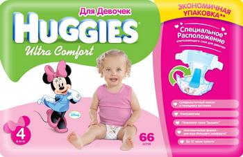 Фото Подгузники Huggies Ultra Comfort Размер 4 8-14кг 66шт для девочек