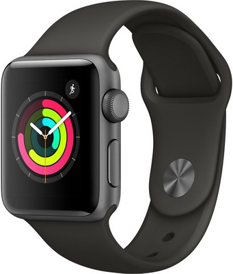 Часы Apple Watch Series 3 38 mm Space Grey Aluminium Grey Sport Band (MR 352 RU/A) умные часы apple watch series 3 42mm gold with pink sand sport band mql22ru a