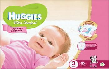 Подгузники Huggies Ultra Comfort Размер 3 5-9 кг 80шт для девочек huggies classic подгузники disney baby 3 4 9 кг 31 шт