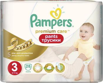 Фото Трусики-подгузники Pampers Premium Care Pants Midi (6-11 кг) Средняя Упаковка 28 шт