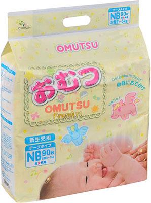 Подгузники OMUTSU NB (до 5 кг) 90 шт.