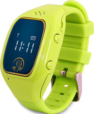 Детские часы с GPS поиском Ginzzu GZ-511 green 0.66'' micro-SIM 16944 children s smart watch with gps camera pedometer sos emergency wristwatch sim card smartwatch for ios android support english e