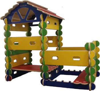 Детский конcтруктор-транcформер, (древесный, красный, зеленый, синий) с пристроем, готовый комплект (49 элементов) Hotnok серии ''Архитектор'' ArchC-3 жен ожерелья с подвесками мода этнический перо кофейный красный синий 70cm ожерелье назначение праздники для улицы