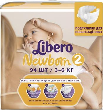 Подгузники Libero Newborn mini 3-6кг 94шт greenty подгузники greenty 2 3 6 кг 60 шт