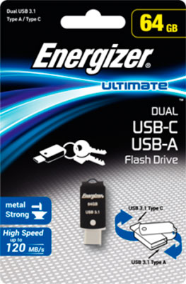 Флеш-накопитель Energizer 64 GB Ultimate Dual USB-A/microUSB (USB 3.1) OTG upgraded version dts ac3 to analog 5 1 audio decoder converter black us plug