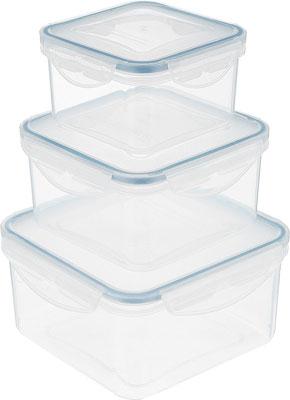 Набор контейнеров Tescoma FRESHBOX 3 шт 0.4 0.7 1.2 л квадратный 892040 набор контейнеров idea квадратные цвет салатовый 0 5 л 3 шт
