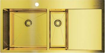 Кухонная мойка OMOIKIRI Akisame 100-2-LG-L нерж. сталь/светлое золото 4973089