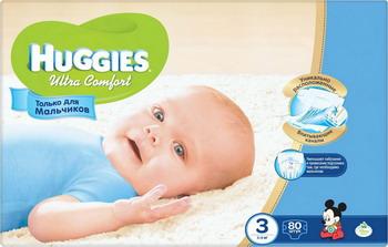 Подгузник HUGGIES Ultra Comfort Размер 3 5-9кг 80 шт для мальчиков