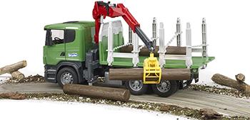Лесовоз Scania с портативным краном и брёвнами Bruder 03-524 машины bruder лесовоз scania с портативным краном и брёвнами