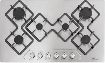 Встраиваемая газовая варочная панель Ricci RGN-KA 6018 IX встраиваемая комбинированная варочная панель ricci rkn 4t 1031 ix
