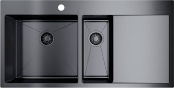 Кухонная мойка OMOIKIRI Akisame 100-2-GM-L нерж.сталь/вороненая сталь 4973103
