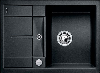 Кухонная мойка BLANCO METRA 45 S COMPACT SILGRANIT антрацит с клапаном-автоматом кухонная мойка blanco metra 5 s silgranit серый беж с клапаном автоматом