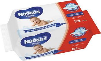 Салфетки детские Huggies Classic 128 шт c l cl 500ml a1988