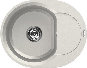 Кухонная мойка Elleci EASY RAUND 600  granitek (68) Bianco Titano LGYR 6068 мойка кухонная elleci ego 480 1000x500 granitek 62 lge48062