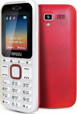 Мобильный телефон Ginzzu M 102 D mini белый/красный массажер нозоми мн 102