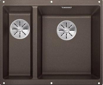 Кухонная мойка BLANCO SUBLINE 340/160-U SILGRANIT кофе (чаша справа) с отв.арм. InFino 523567 кухонная мойка blanco subline 340 160 u silgranit жемчужный чаша слева с отв арм infino 523551