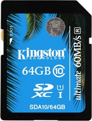 Карта памяти Kingston SDHC 64 Gb Class 10 SDA 10/64 GB UHS-I 60/35 карта памяти other samsung evo 10 32 64 sd sdhc oem